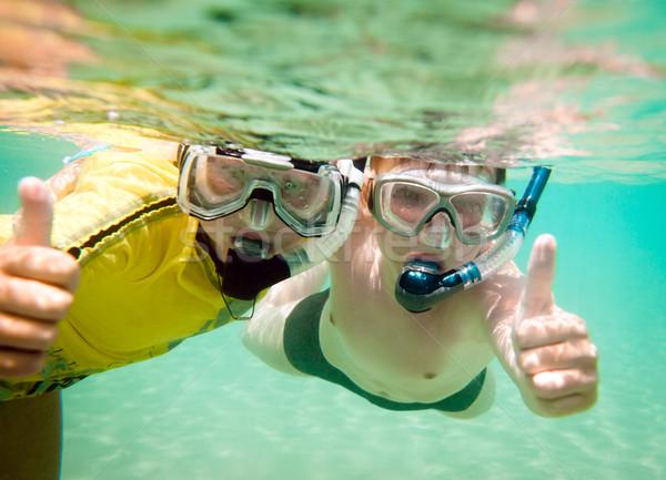 Iki erkek sualtı çocuklar su maskeler Stok fotoğraf © cookelma