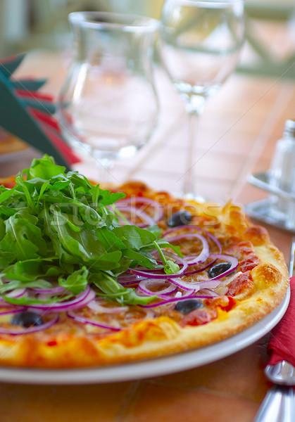 Pizza chaud table café restaurant plaque Photo stock © cookelma