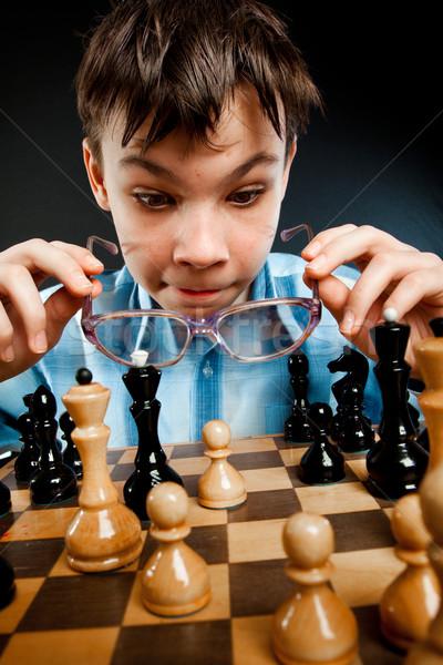Foto d'archivio: Nerd · giocare · scacchi · nero · pensare · apprendimento