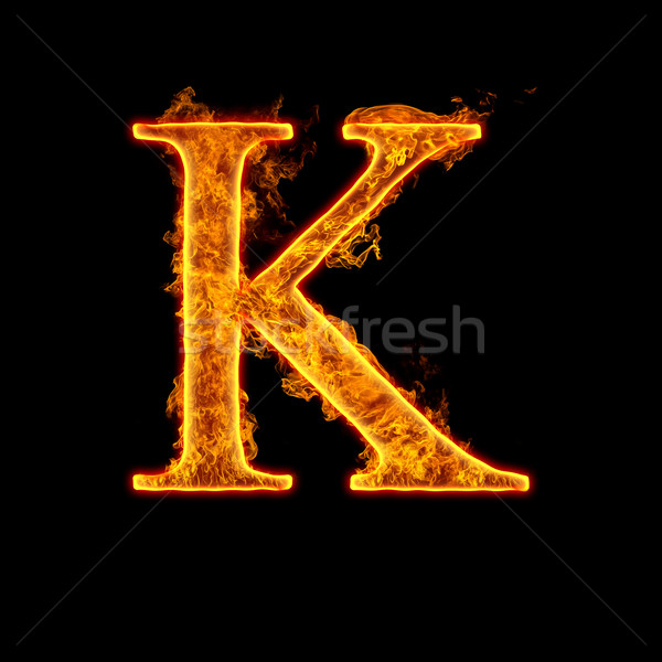 Fire alphabet letter K Stock photo © cookelma