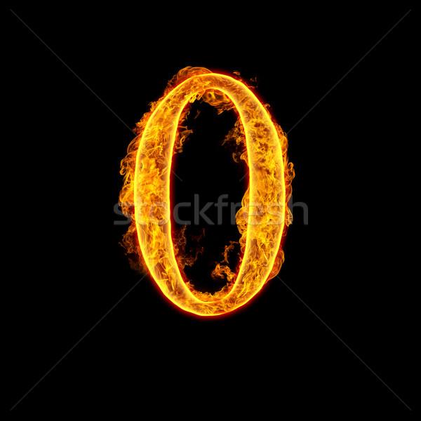 Fire alphabet number 0 zero Stock photo © cookelma
