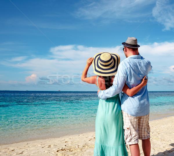 отпуск пару ходьбе тропический пляж Мальдивы человека Сток-фото © cookelma