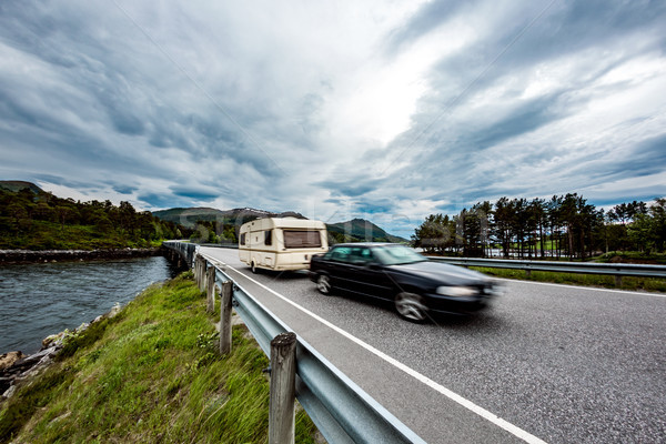 Family vacation travel, holiday trip in motorhome, caravan car m Stock photo © cookelma