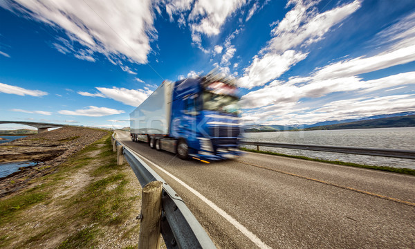 Truck rushes down the highway in the background Atlantic Ocean R Stock photo © cookelma