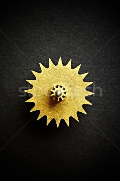 Engrenagem preto tecnologia metal máquina aço Foto stock © cookelma