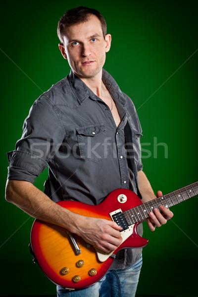 Man gitaar groene kunst rock concert Stockfoto © cookelma