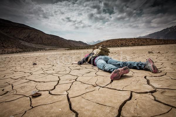 Személy aszalt föld utazó textúra természet Stock fotó © cookelma