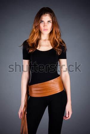 Beautiful girl escuro retrato mulher menina moda Foto stock © cookelma