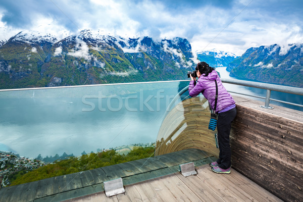 Nature photographer. Stegastein Lookout. Stock photo © cookelma