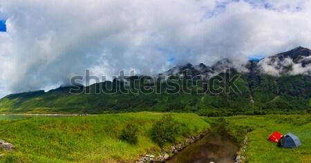 Turist çadır kıyı göl kamp tatil Stok fotoğraf © cookelma