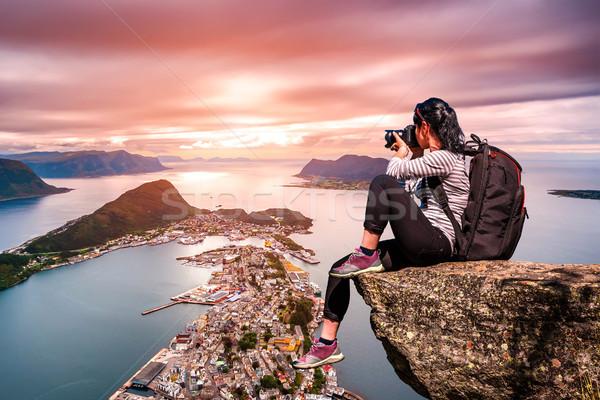 Nature photographer - Aksla at the city of Alesund , Norway. Stock photo © cookelma