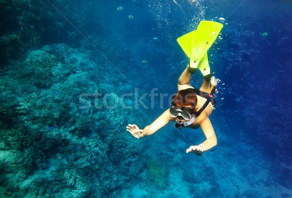 boy floats under water Stock photo © cookelma