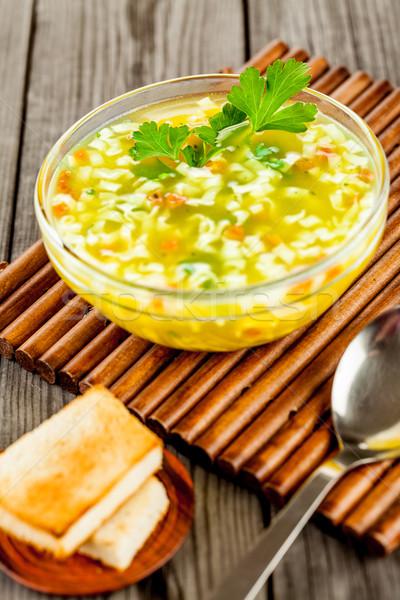 Tészta leves fa asztal étterem tyúk vacsora Stock fotó © cookelma
