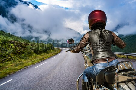 Biker girl Stock photo © cookelma