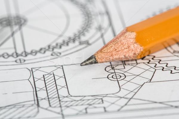 Foto stock: Desenho · pormenor · lápis · papel · projeto