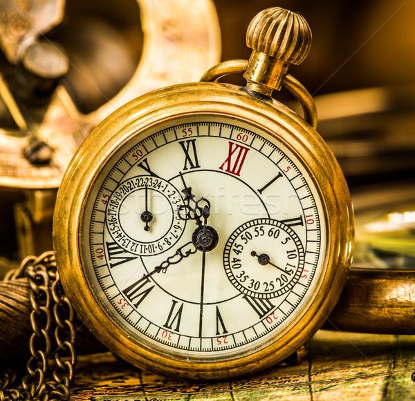 Antiguos reloj de bolsillo vintage naturaleza muerta fondo tiempo Foto stock © cookelma