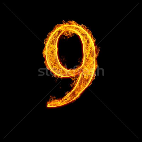 Fire alphabet number 9 nine Stock photo © cookelma