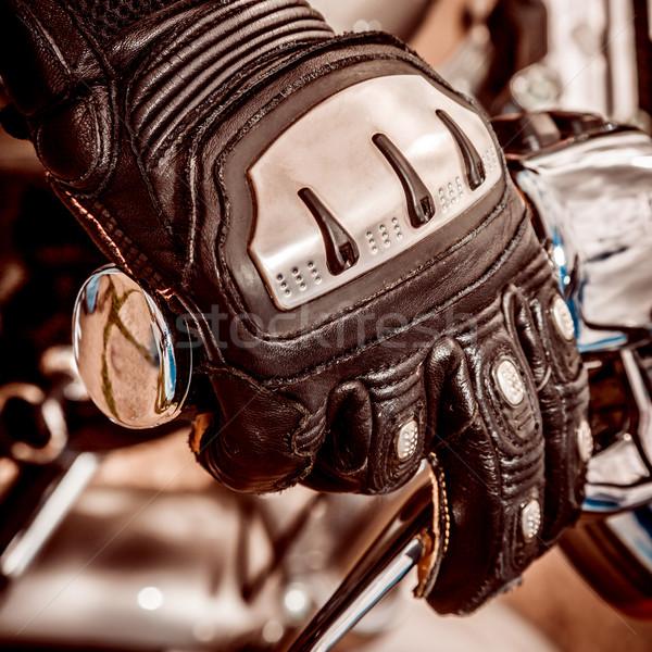 Motorfiets racing handschoenen menselijke hand controle hand Stockfoto © cookelma