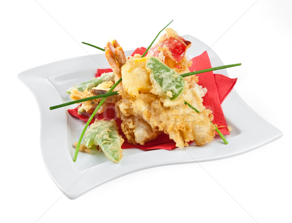 Prawns with vegetables in batter Stock photo © cookelma
