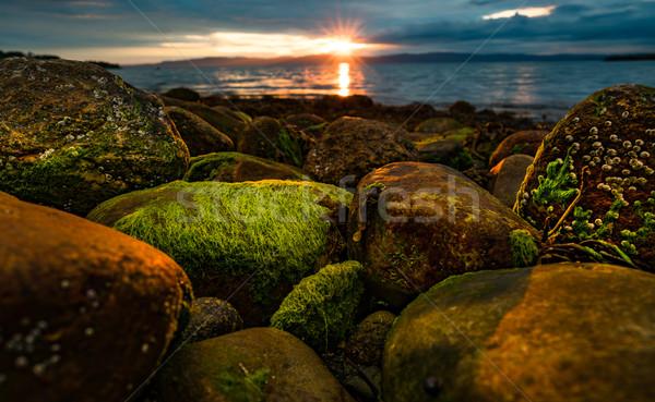 Foto stock: Pôr · do · sol · mar · Noruega · ártico · costa · praia