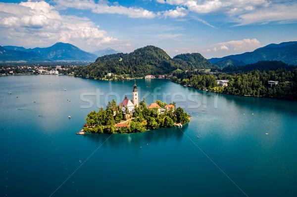 Словения курорта озеро антенна небе Сток-фото © cookelma