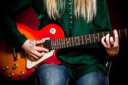 Adam gitar yeşil sanat kaya konser Stok fotoğraf © cookelma