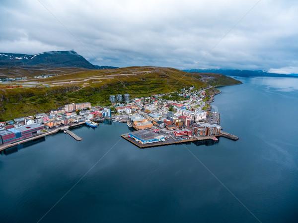 şehir Norveç doğa manzara yaz seyahat Stok fotoğraf © cookelma
