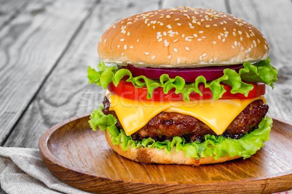 おいしい 食欲をそそる ハンバーガー チーズバーガー レストラン パン ストックフォト © cookelma