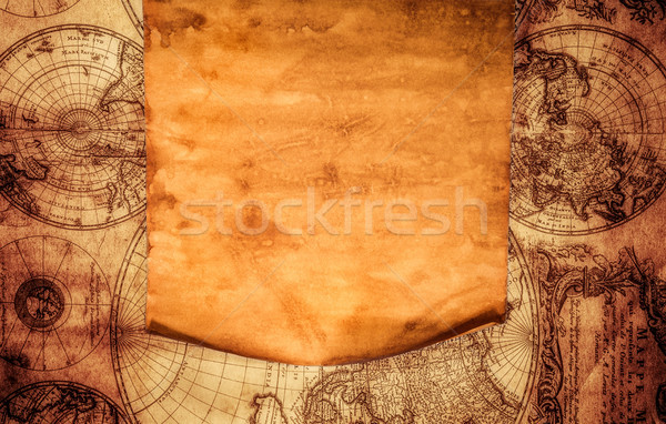Blank old paper against the background of an ancient map ... on magazine background, newspaper background, old nautical maps, paper background, wood background, old world cartography, key background, old wallpaper, bouquet background, old compass, old boats, old us highway maps, old treasure maps, space background, city background,