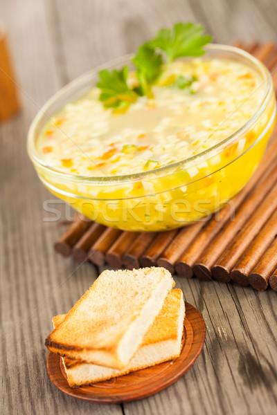 ヌードル スープ 木製のテーブル フォーカス トースト レストラン ストックフォト © cookelma