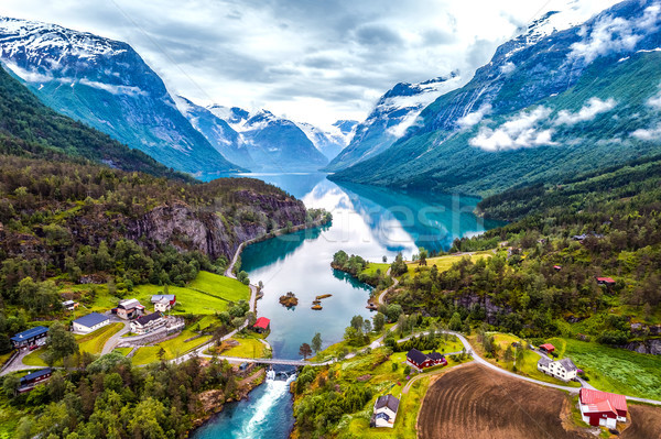 Stock photo: Beautiful Nature Norway aerial photography.
