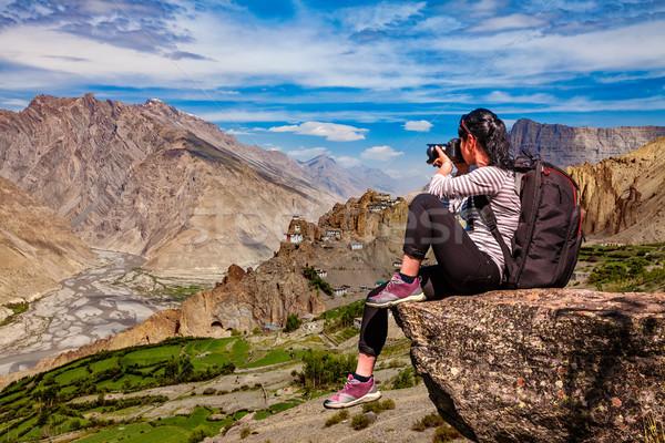 Indië vallei natuur fotograaf toeristische camera Stockfoto © cookelma