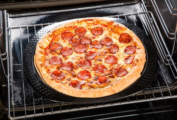 пепперони пиццы печи приготовления сыра пшеницы Сток-фото © cookelma