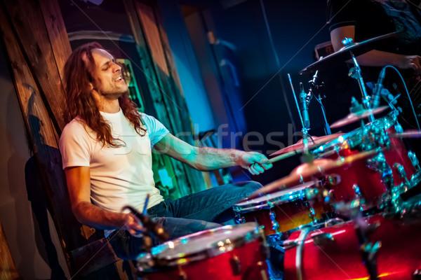 Dobos játszik dob szett színpad autentikus Stock fotó © cookelma