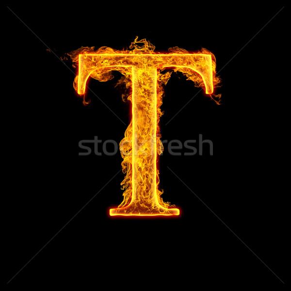 Fire alphabet letter T Stock photo © cookelma