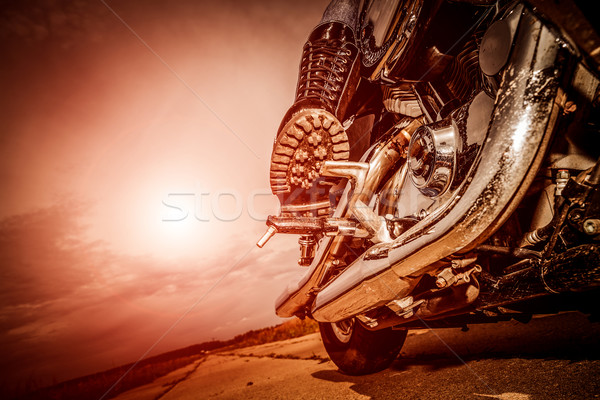 Biker girl riding on a motorcycle Stock photo © cookelma