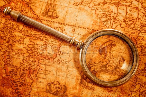 Foto stock: Vintage · lupa · mentiras · antigua · mapa · del · mundo · naturaleza · muerta