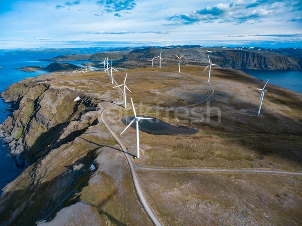 Windmills for electric power production Stock photo © cookelma