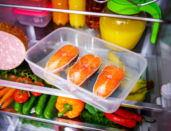 Raw Salmon steak in the open refrigerator Stock photo © cookelma