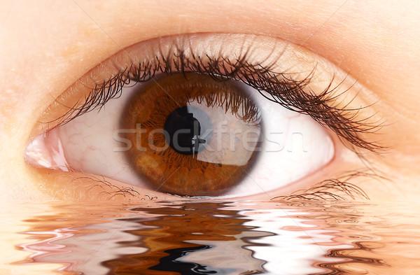 Oog menselijke oppervlak water gezondheid schoonheid Stockfoto © cookelma