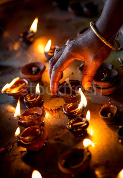 Brucia candele indian tempio diwali festival Foto d'archivio © cookelma