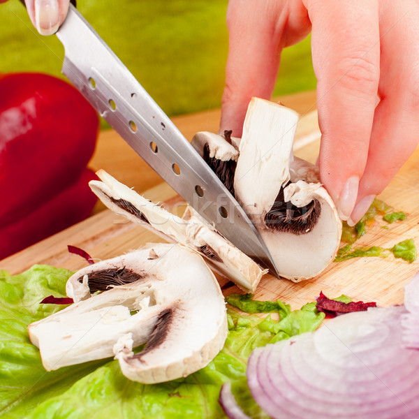 cutting mushroom champignon Stock photo © cookelma