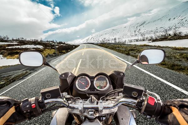 Motoros kilátás hegy motorkerékpár bicikli sebesség Stock fotó © cookelma