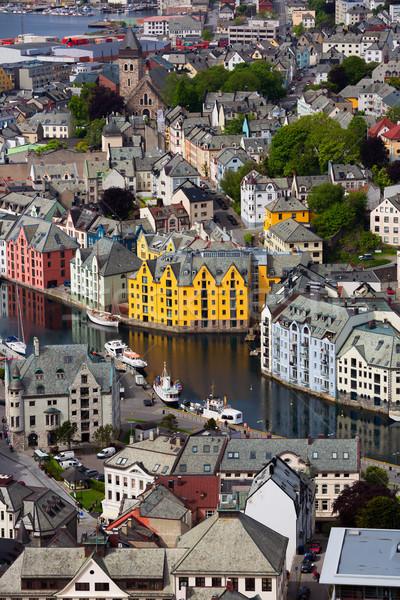 Città Norvegia cielo natura strada mare Foto d'archivio © cookelma