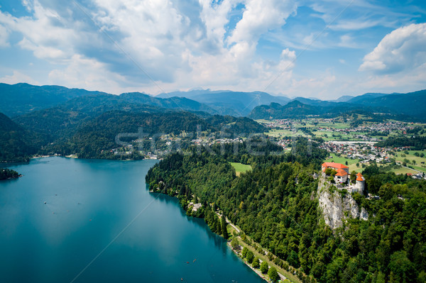 Slovénie Resort lac ciel eau Photo stock © cookelma