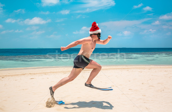 Férfi mikulás kalap trópusi tengerpart karácsony vakáció Stock fotó © cookelma
