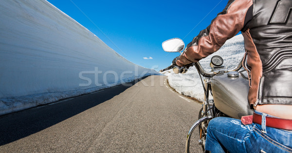 Biker girl First-person view, mountain serpentine. Stock photo © cookelma