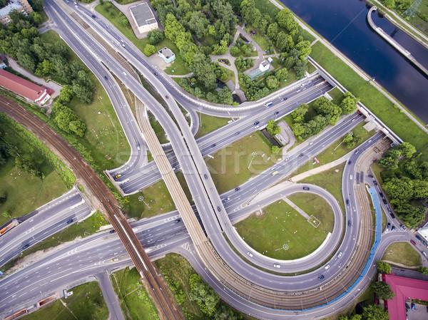 Luftbild Autobahn Kreuzung Straße Brücke Verkehr Stock foto © cookelma