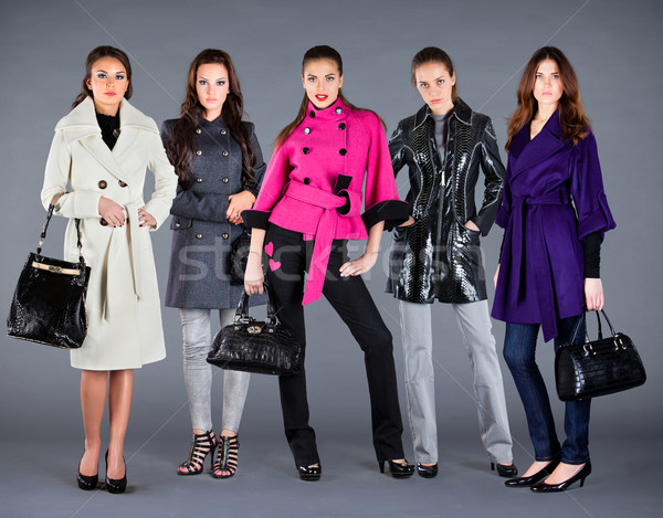 Five girls. Autumn winter collection lady's clothes Stock photo © cookelma