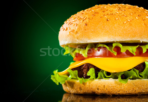 Tasty and appetizing hamburger on a darkly green Stock photo © cookelma